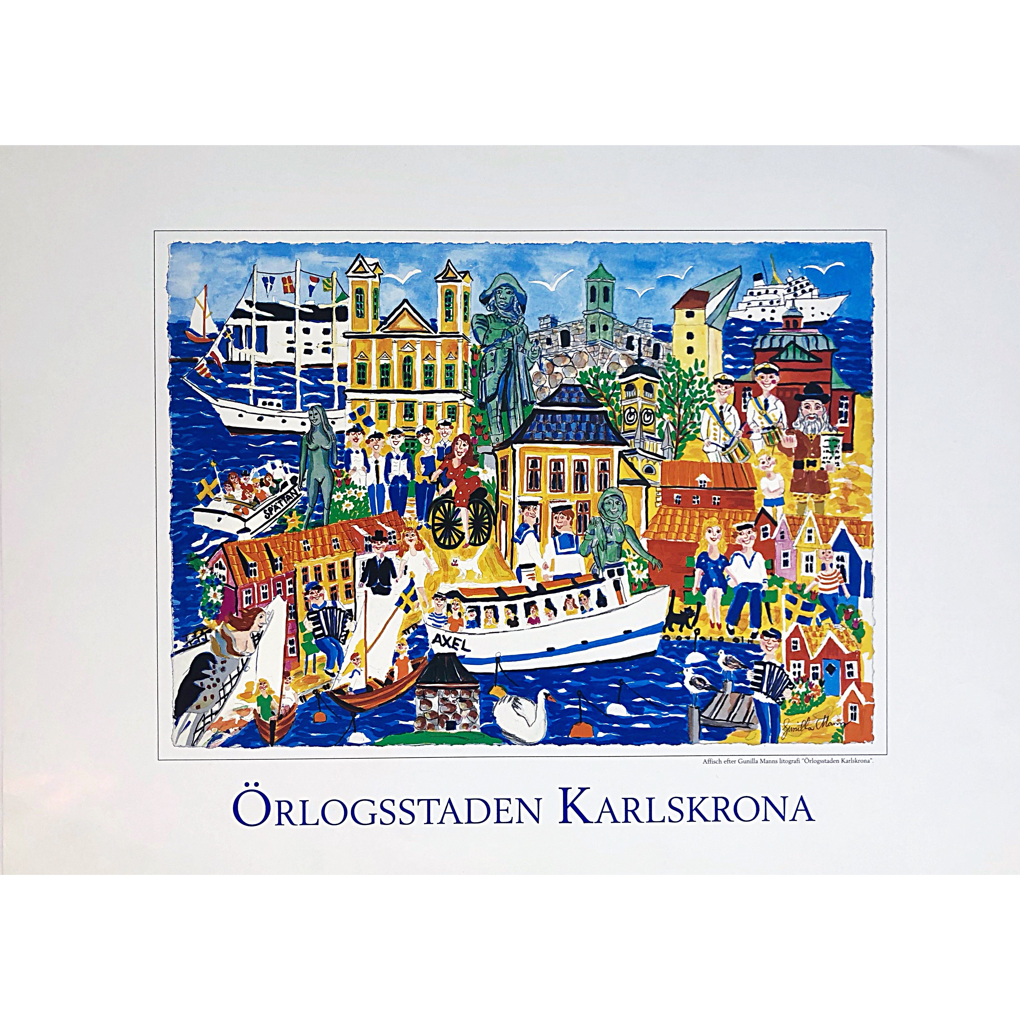 """Örlogsstaden Karlskrona"" Artposter by Gunilla Mann. 70 x 50 cm"