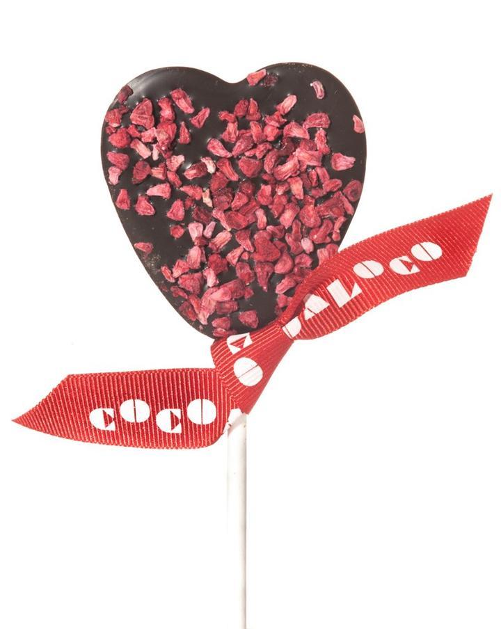 Cocoa Loco Organic Dark Chocolate and Raspberry Heart Lolly
