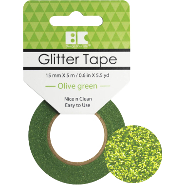 Washi Glitter Tape BC Olive Green GTS008