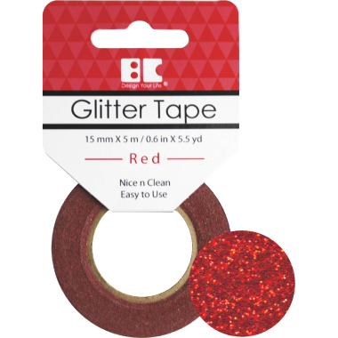Washi Glitter Tape BC Red GTS003