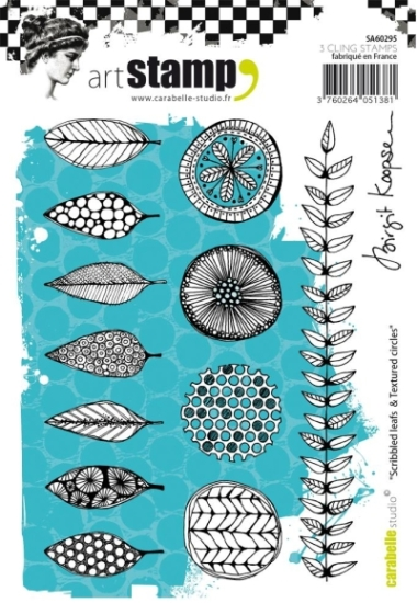 Stempel CS Scribbled leafs & Textured circles SA60295