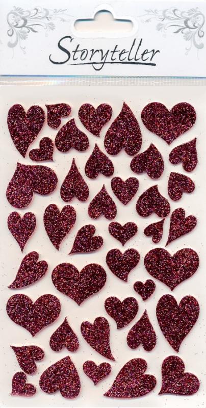 Hjertestickers med glitter Burgunder ST 004204