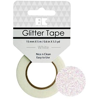 Washi Glitter Tape BC White GTS010