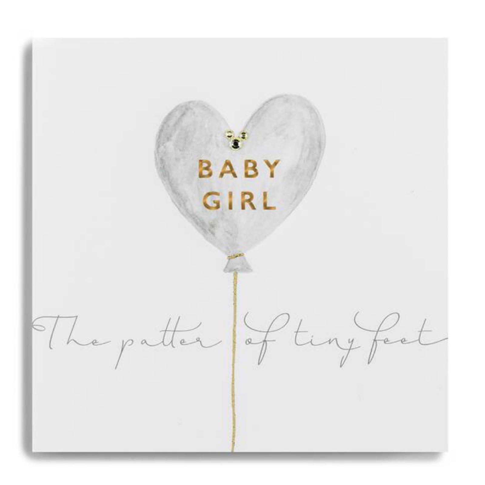 Janie Wilson baby gold leaf girl card