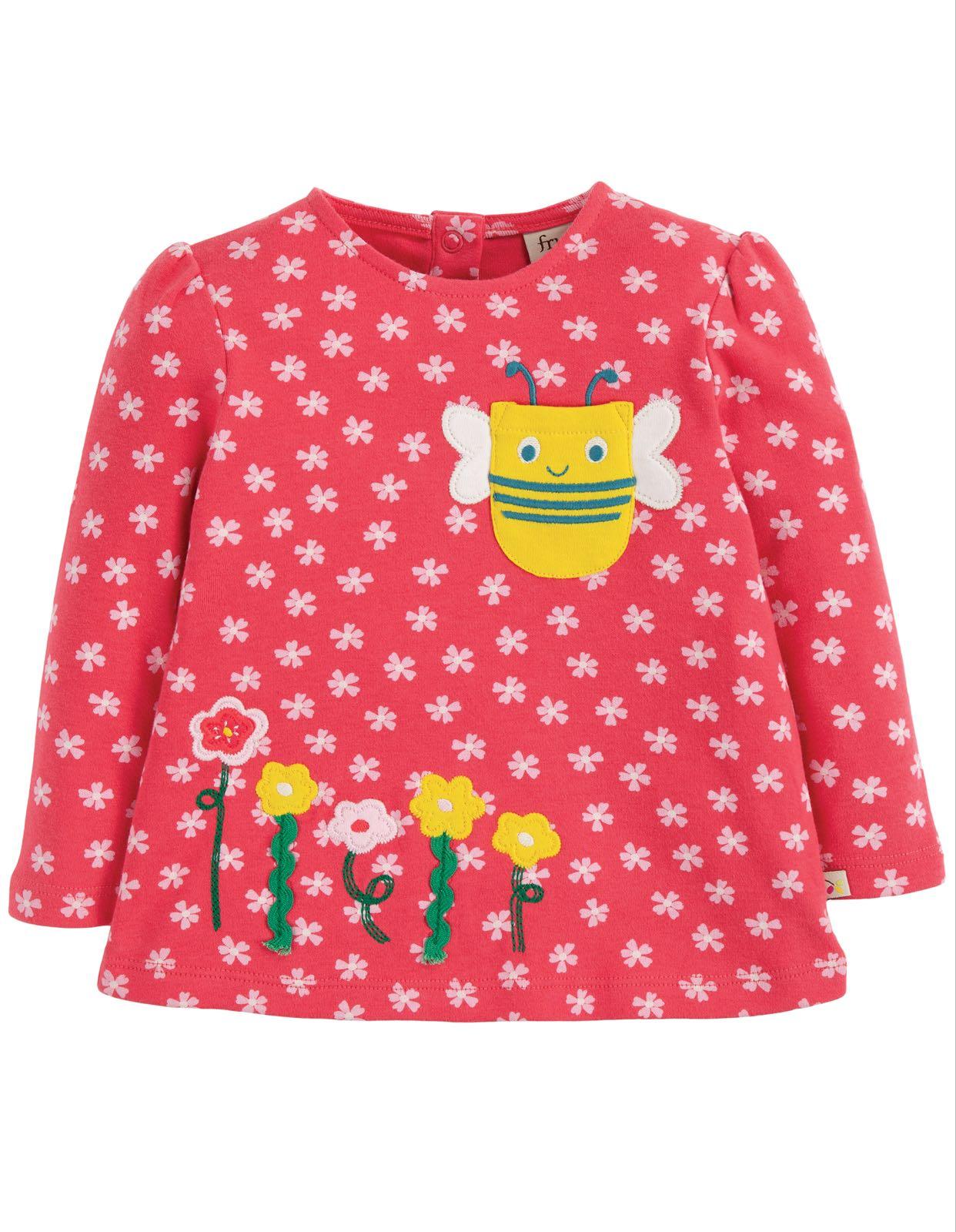 Frugi Connie Appliqué Top, Watermelon Cherry Blossom/Bee