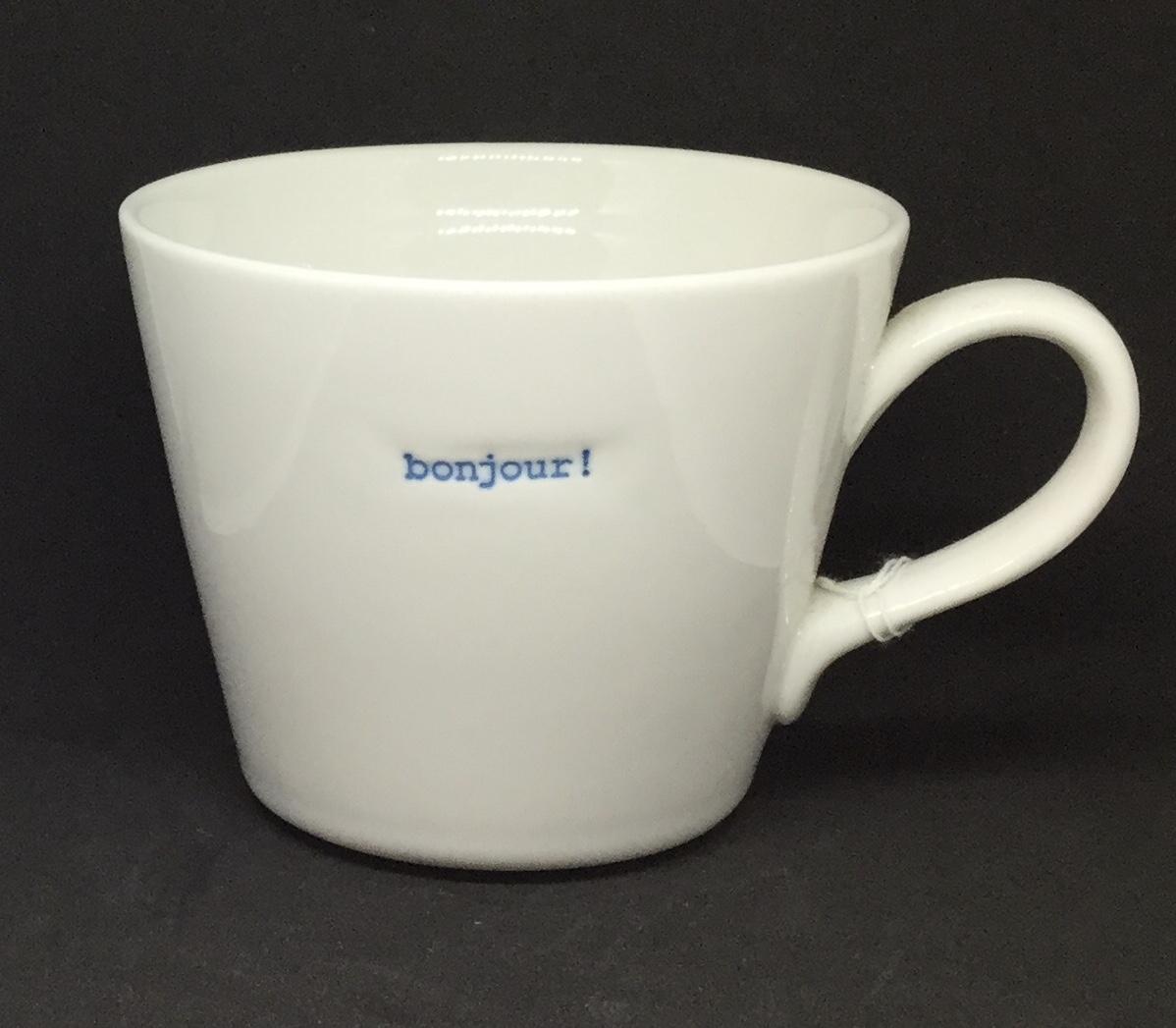 'Bonjour' fine bone China mug