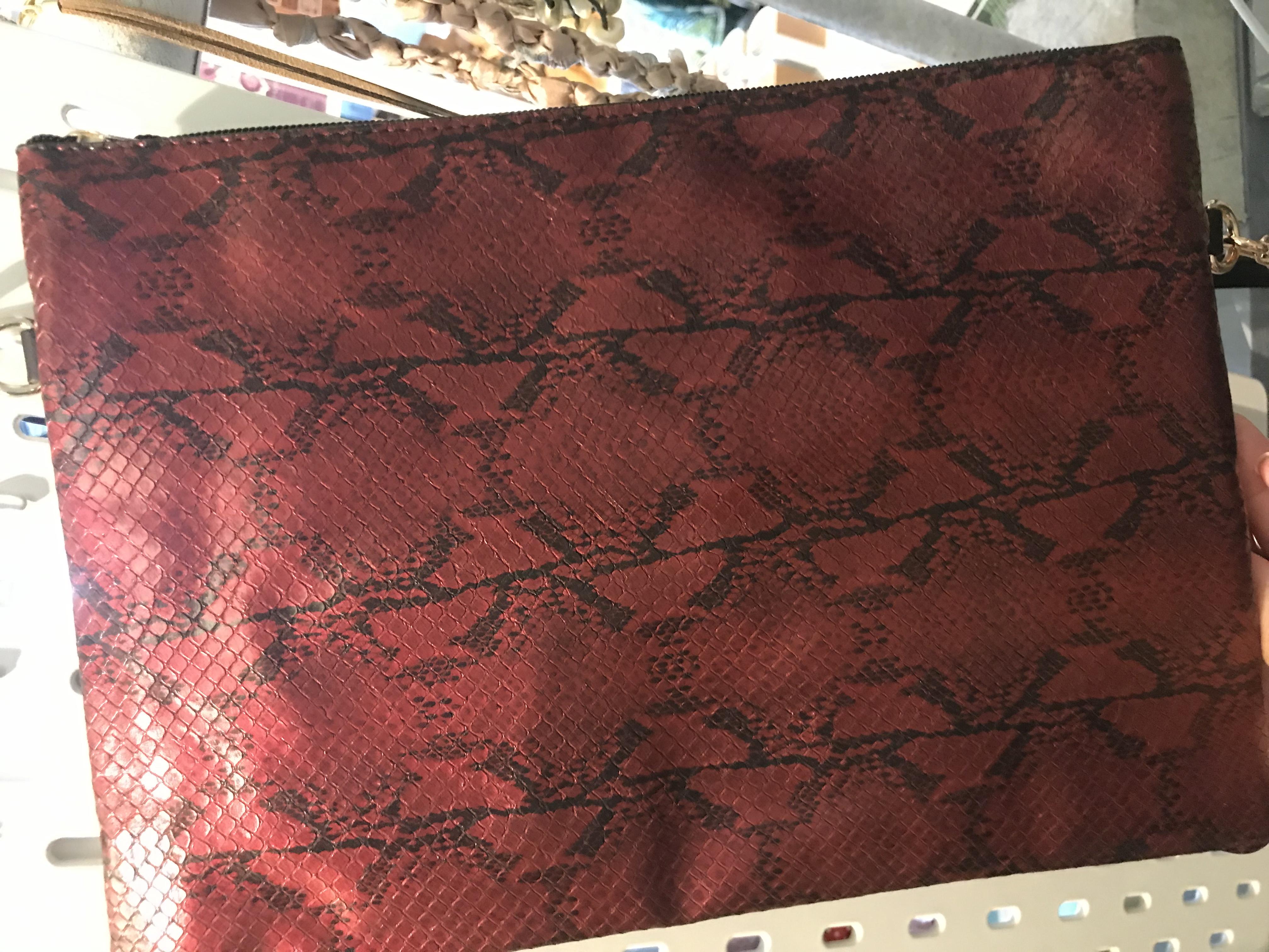MSH Burgundy snake skin bag