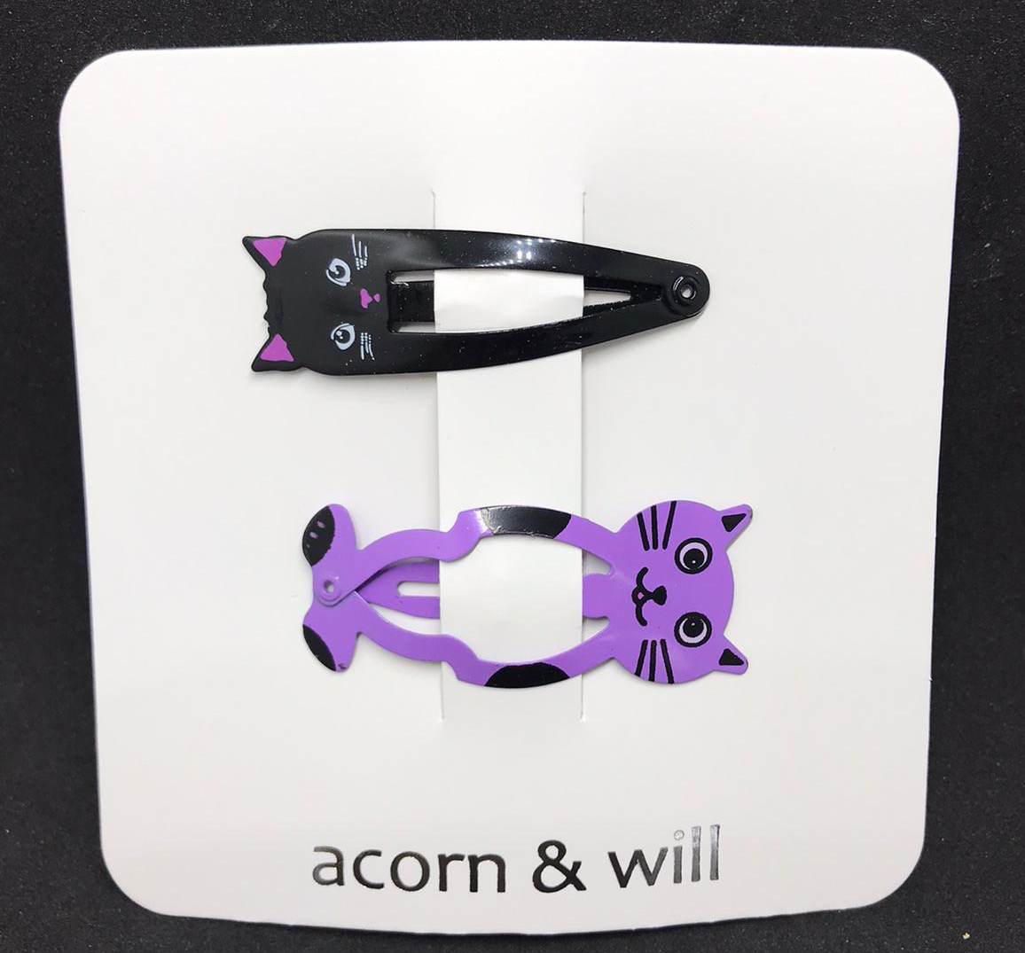 Acorn & Will Black Cat/Purple Hair Clips