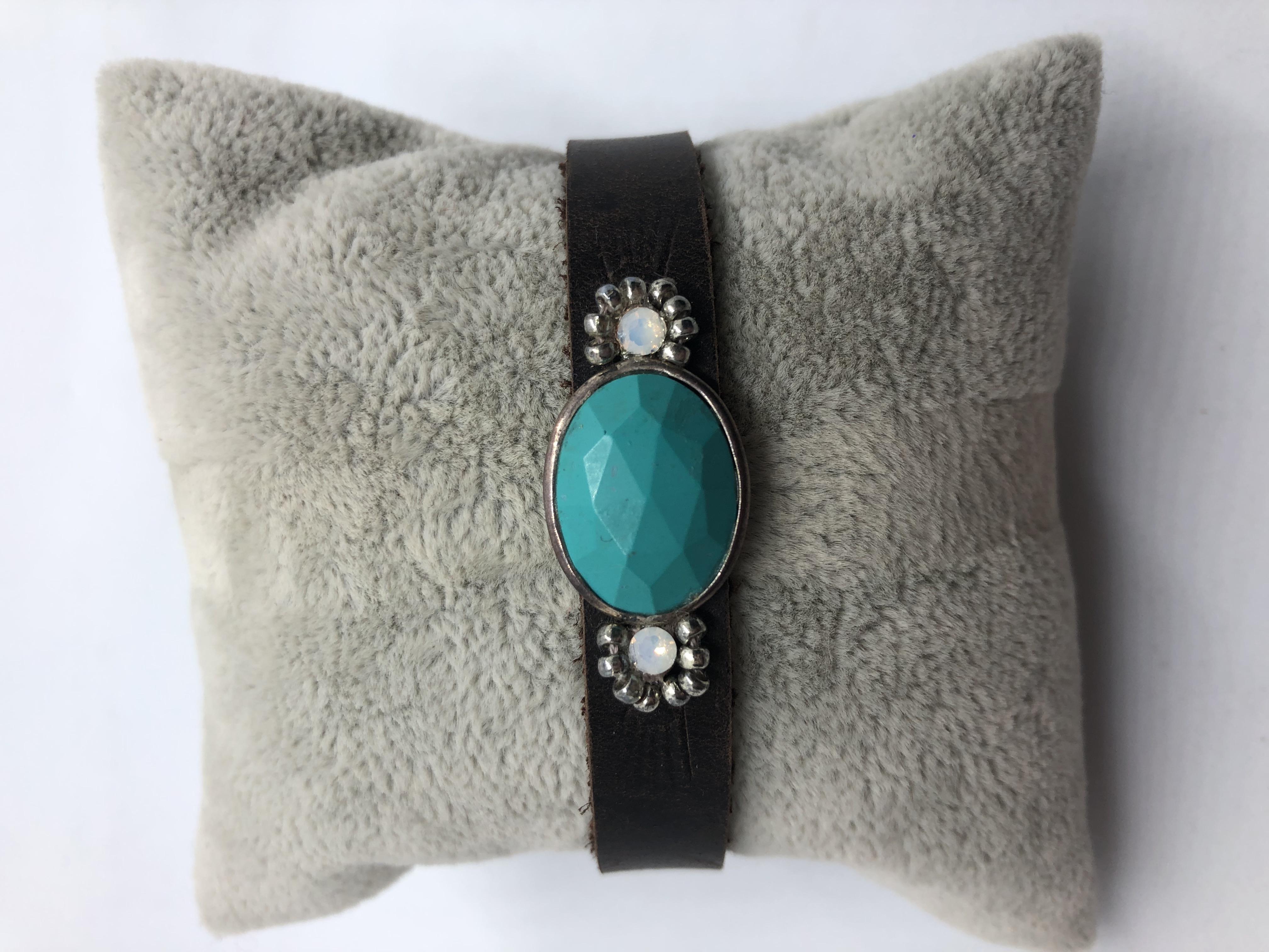 Boho Buffalo Leather Turquoise Wrap Bracelet