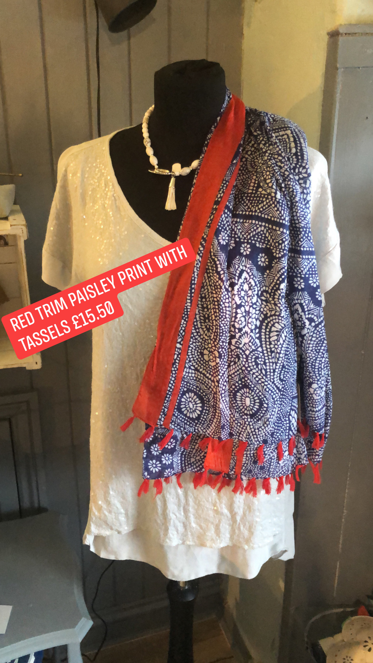 MSH blue and white paisley scarf