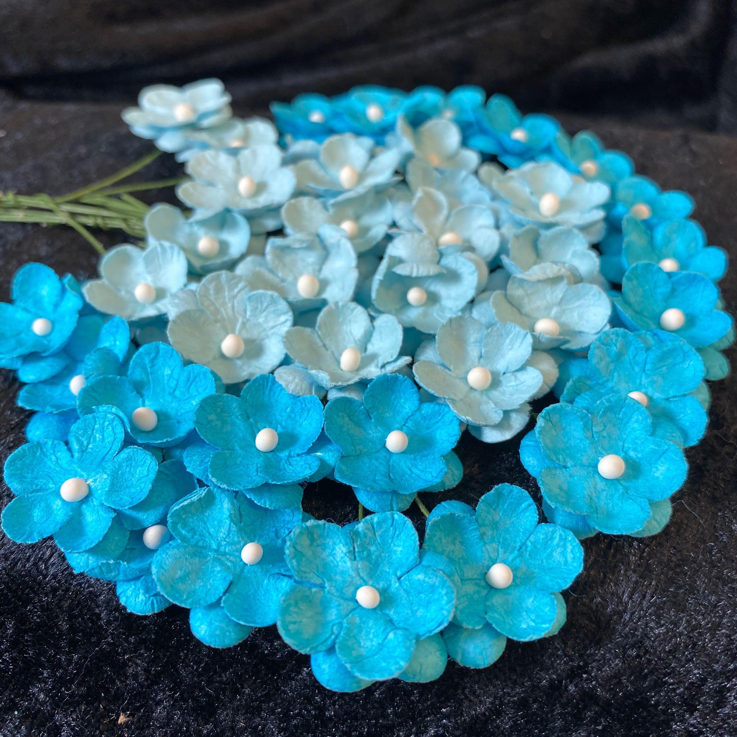 Papirdesign blomster lys blå & turkis