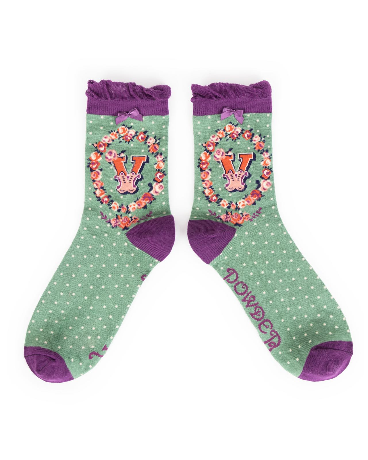 Powder Alphabet socks V (product may differ from item shown in the photo) 4-6 ladies