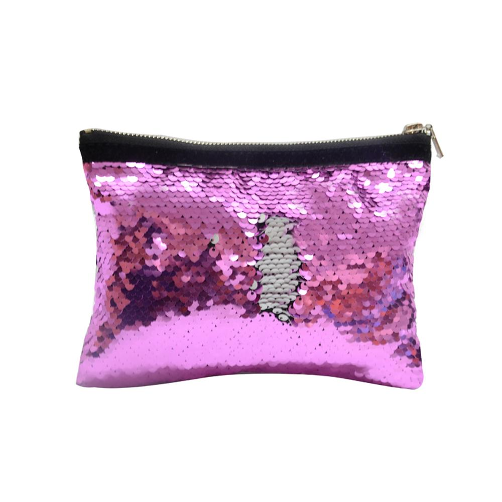 PINK SEQUIN COSMETIC POUCH