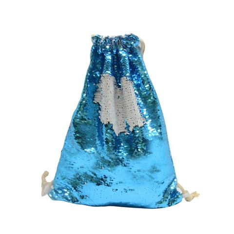 BLUE SEQUIN DRAWSTRING BAG