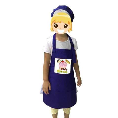 Kids Apron with hat - Blue