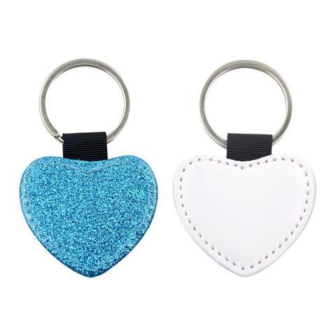 HEART BLUE GLITTER LEATHER KEYRING