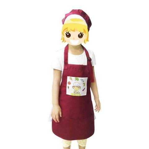 Toddler Apron with hat - Red