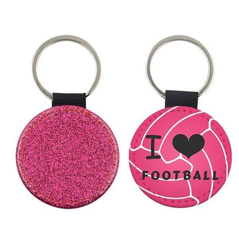 ROUND PINK GLITTER LEATHER KEYRING