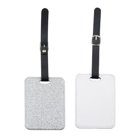 SILVER GLITTER RECTANGLE LEATHER LUGGAGE TAG