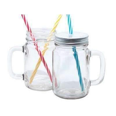 GLASS MASON JAR WITH STRAW