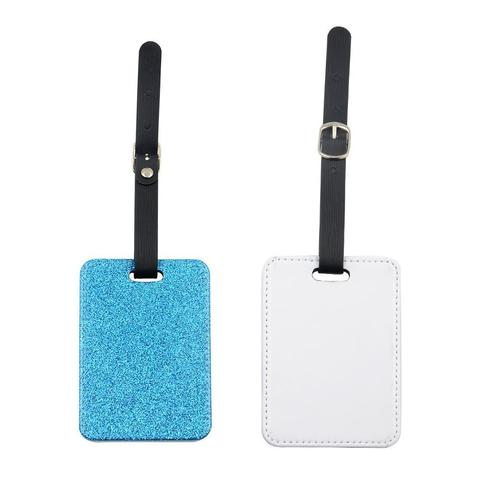 BLUE GLITTER RECTANGLE LEATHER LUGGAGE TAG