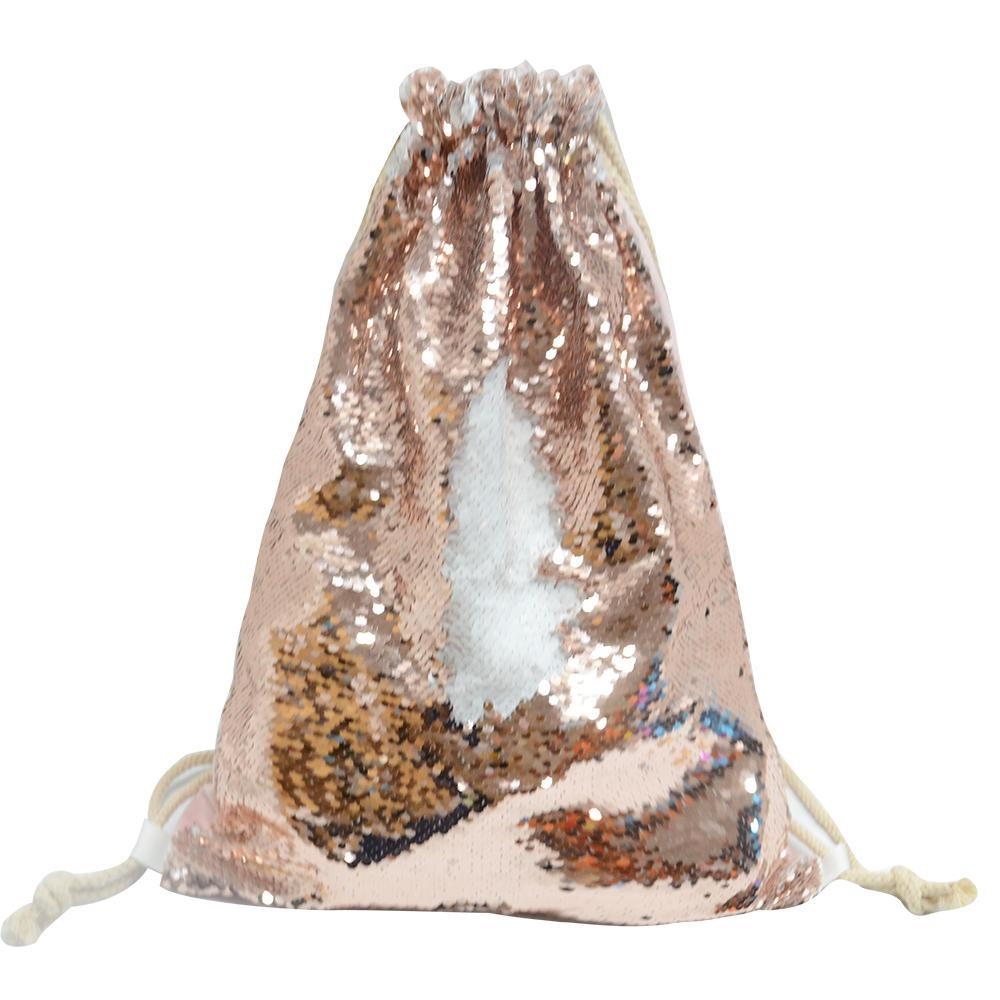 CHAMPAGNE SEQUIN DRAWSTRING BAG
