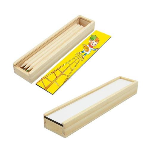 WOODEN PENCIL CASE WITH PENCILS SMALL