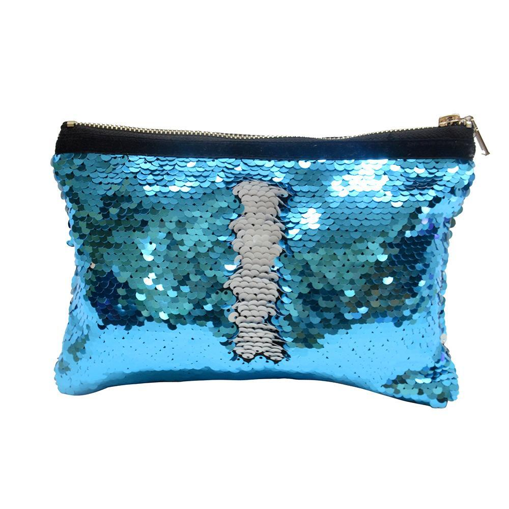 BLUE SEQUIN COSMETIC POUCH
