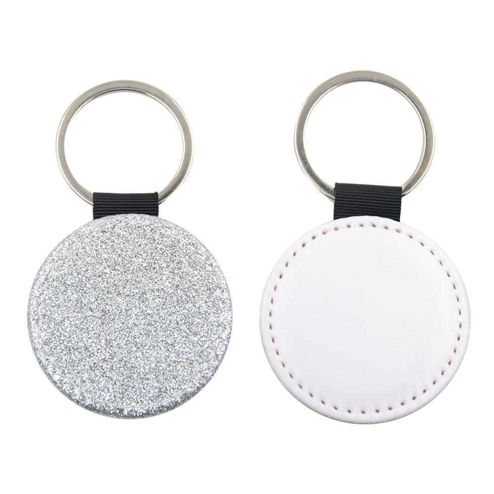 ROUND SILVER GLITTER LEATHER KEYRING