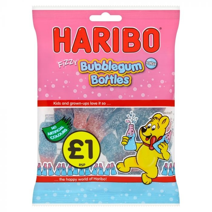 Haribo Fizzy Bubblegum Bottles Bags 160g