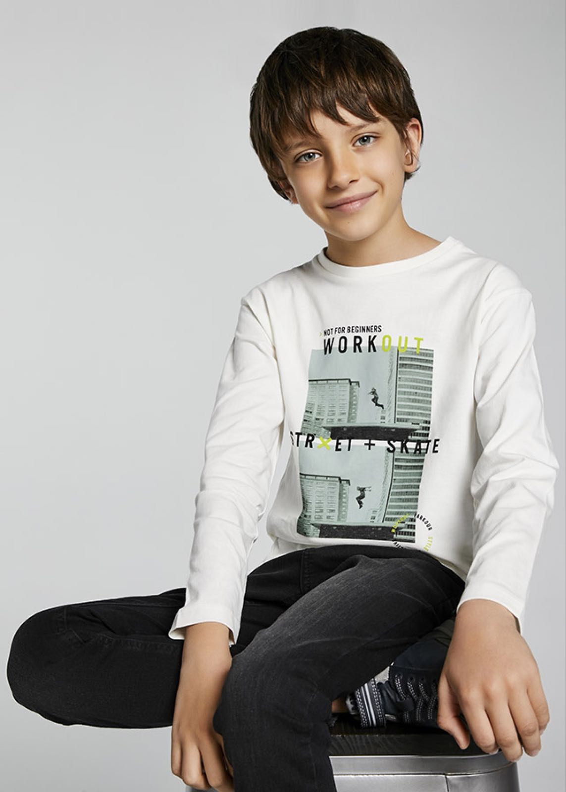 MAYORAL TEEN BOY Long Sleeve White 'Work Out' T-Shirt 7007-35