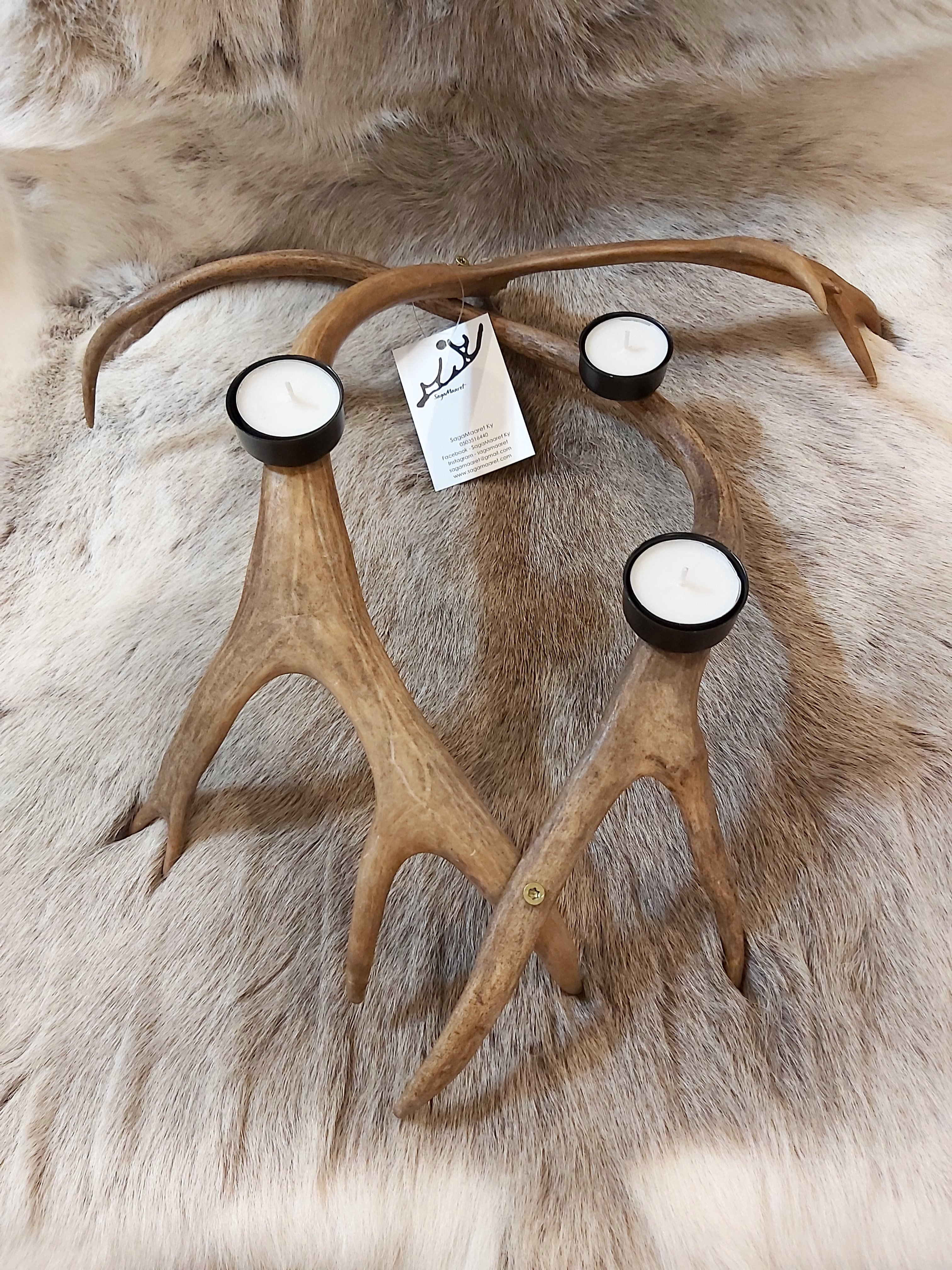 Ginttaljuolgi poronsarvi kynttelikkö, ruskea