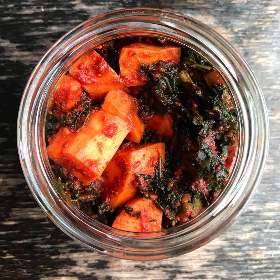 Kale and Sweet Potato Kimchi (Vegan)