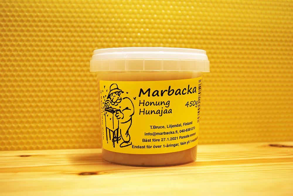 Marbackan hunajaa 450g, muovipurkki
