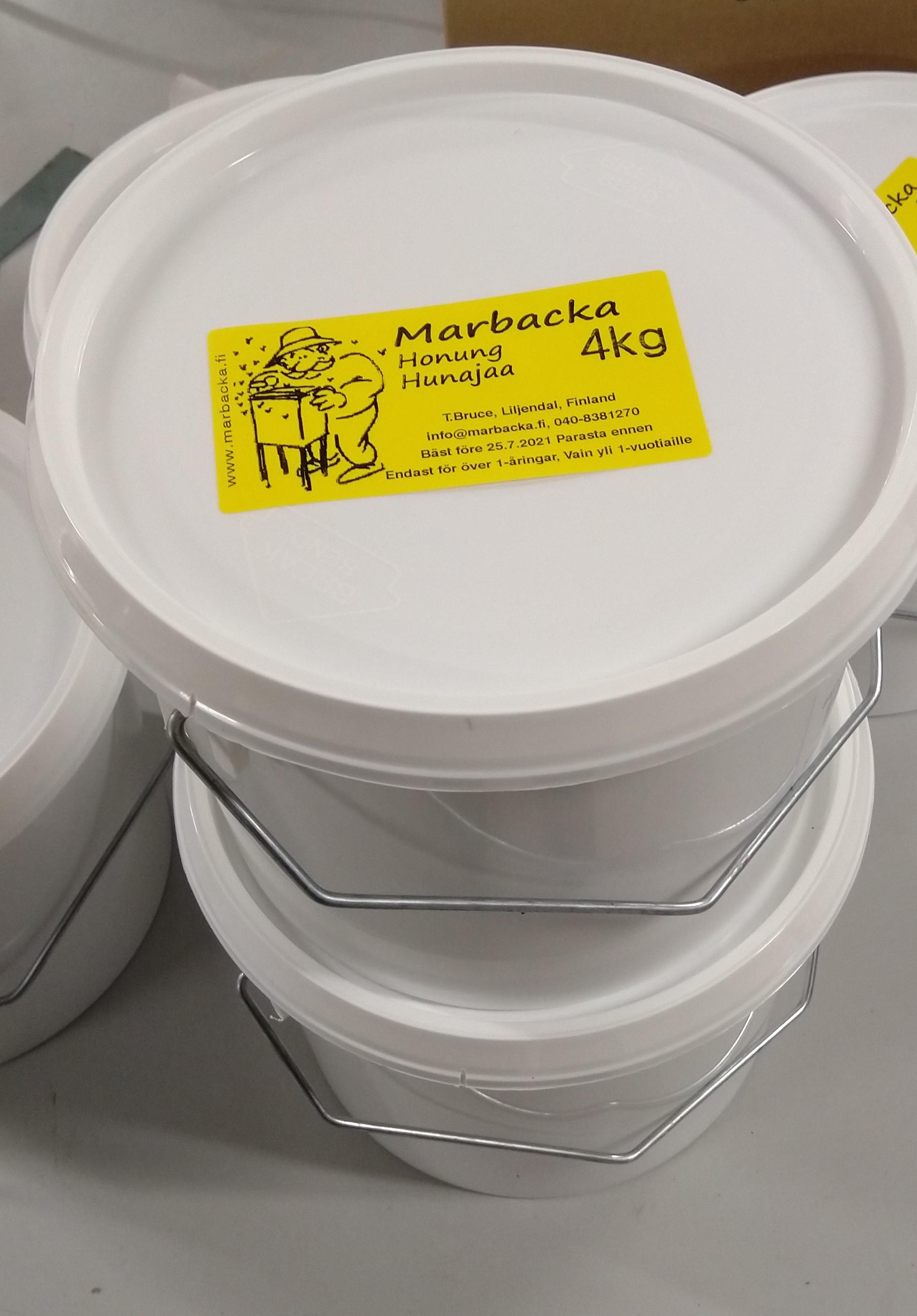 Marbackan hunaja 4 kg, muovipurkki