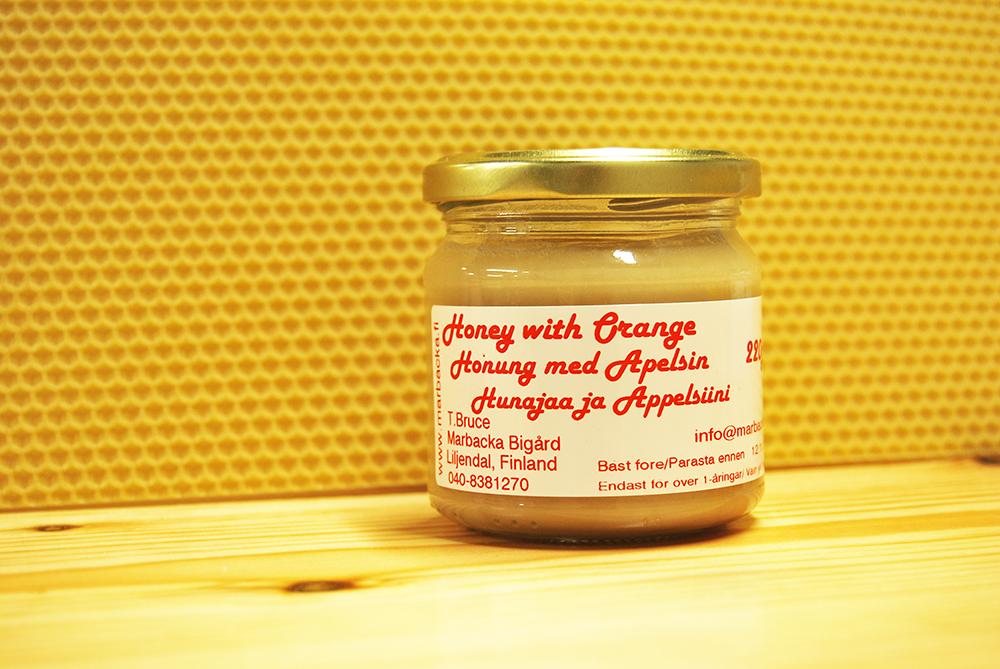 Appelsiinilla maustettua hunajaa 220g, lasipurkki