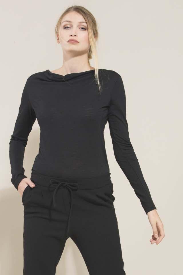 Wasserfallshirt Shirt Black GOTS Wool/Silk ( Før 699 kr)