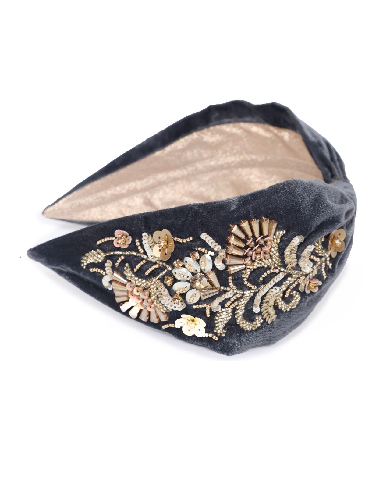 Powder charcoal velvet Headband with gold embellishments