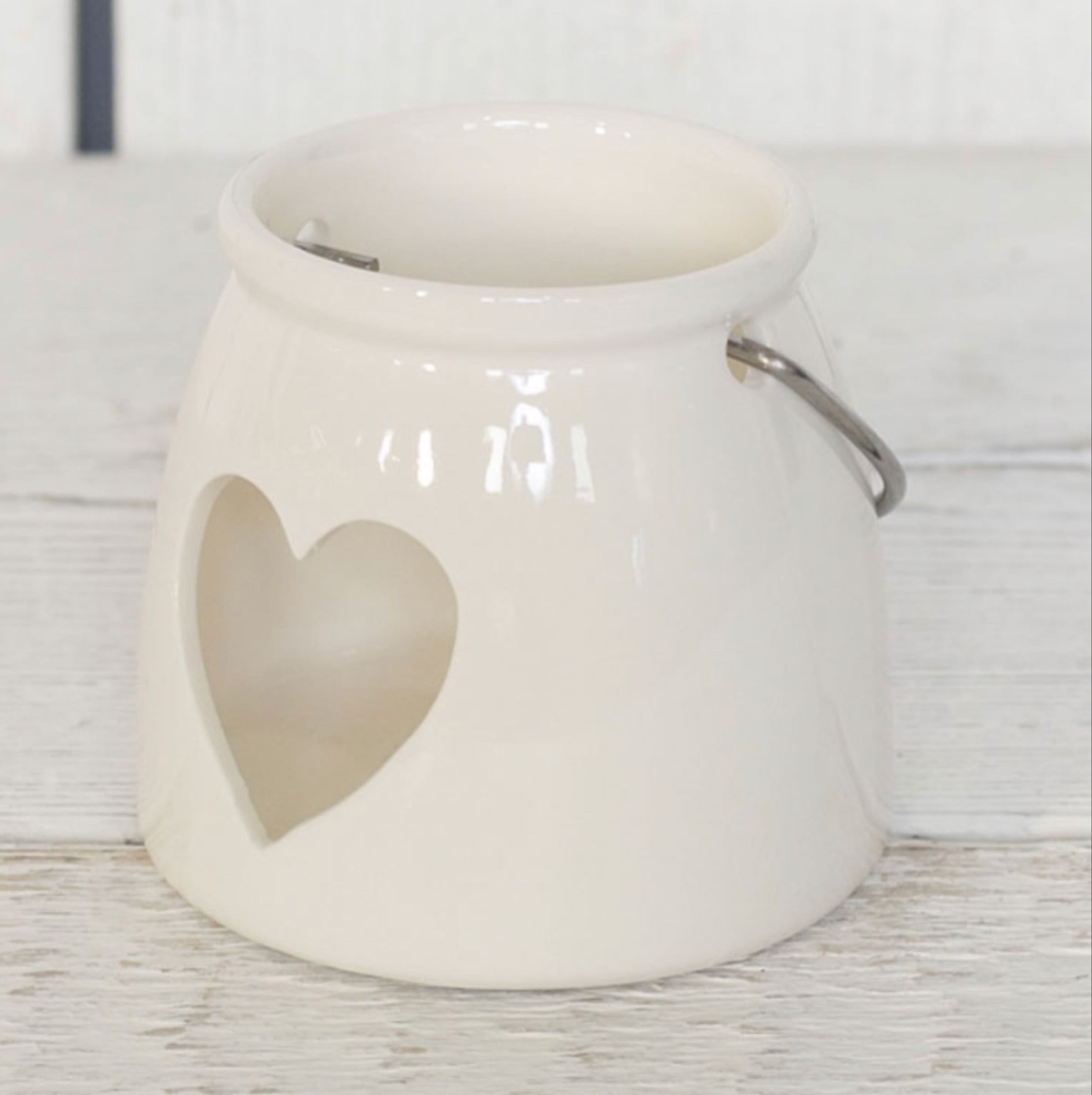 White ceramic candle holder with heart decoration 8.3cm