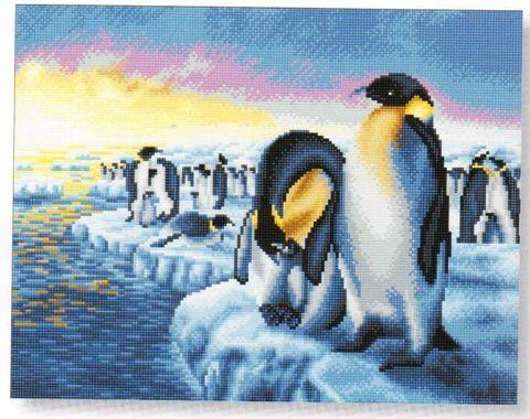 Crystal Art på ramme 40x50 cm: Pingviner på isflager