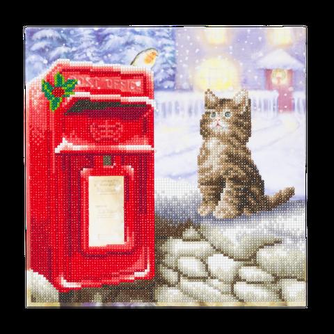 Crystal Art på ramme 30x30 cm: Kat venter ved postkassen