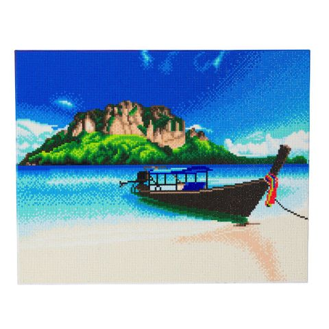 Crystal Art på ramme 40x50 cm: Båd på stranden