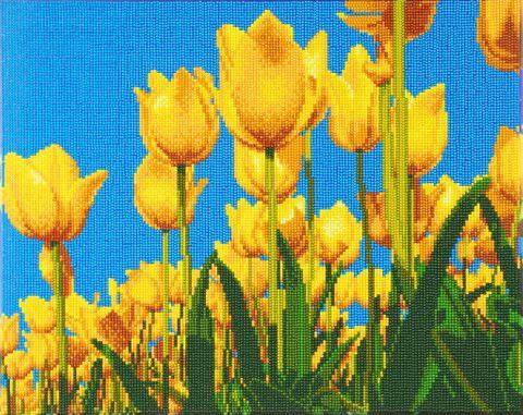 Crystal Art på ramme 40x50 cm: Gule tulipaner