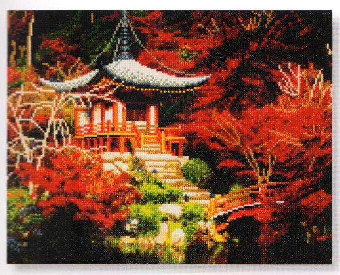 Crystal Art på ramme 40x50 cm: Japansk tempel
