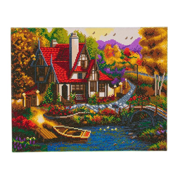 Crystal Art på ramme 40x50 cm: Riverside Cottage