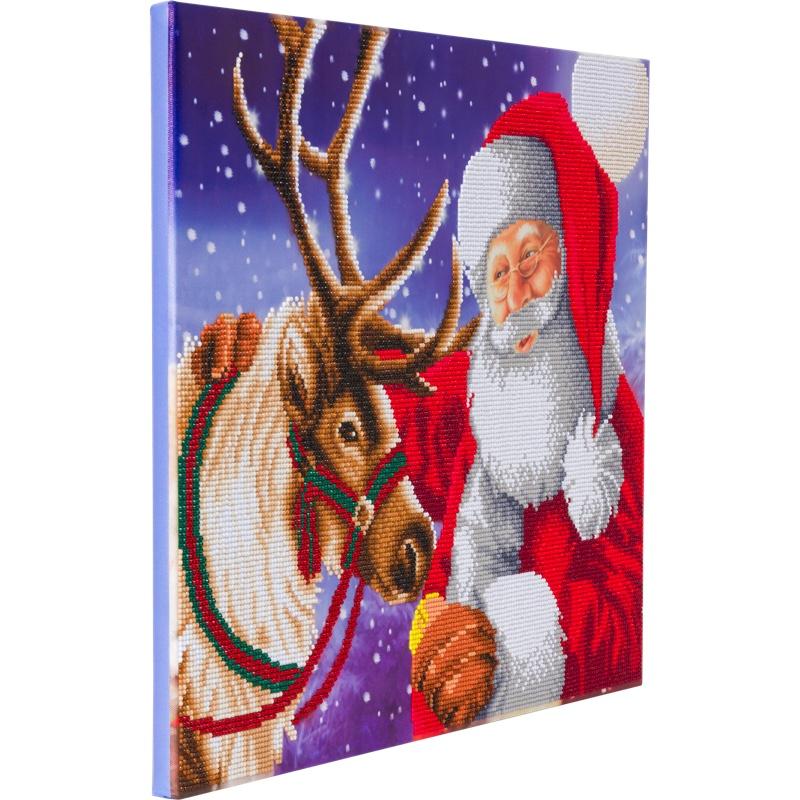 Crystal Art på ramme 40x50 cm: Julemandens bedste ven