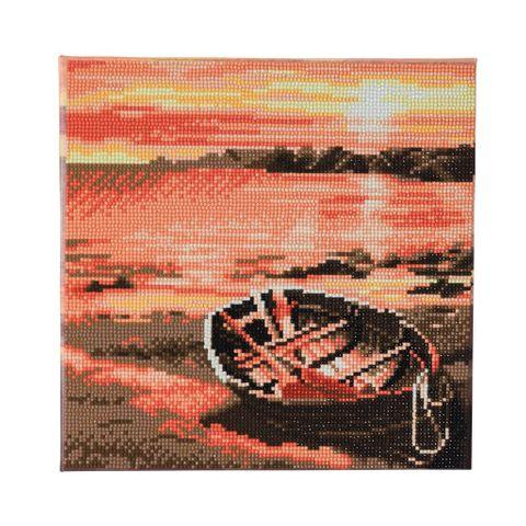 Crystal Art på ramme 30x30 cm: Båd ved floden