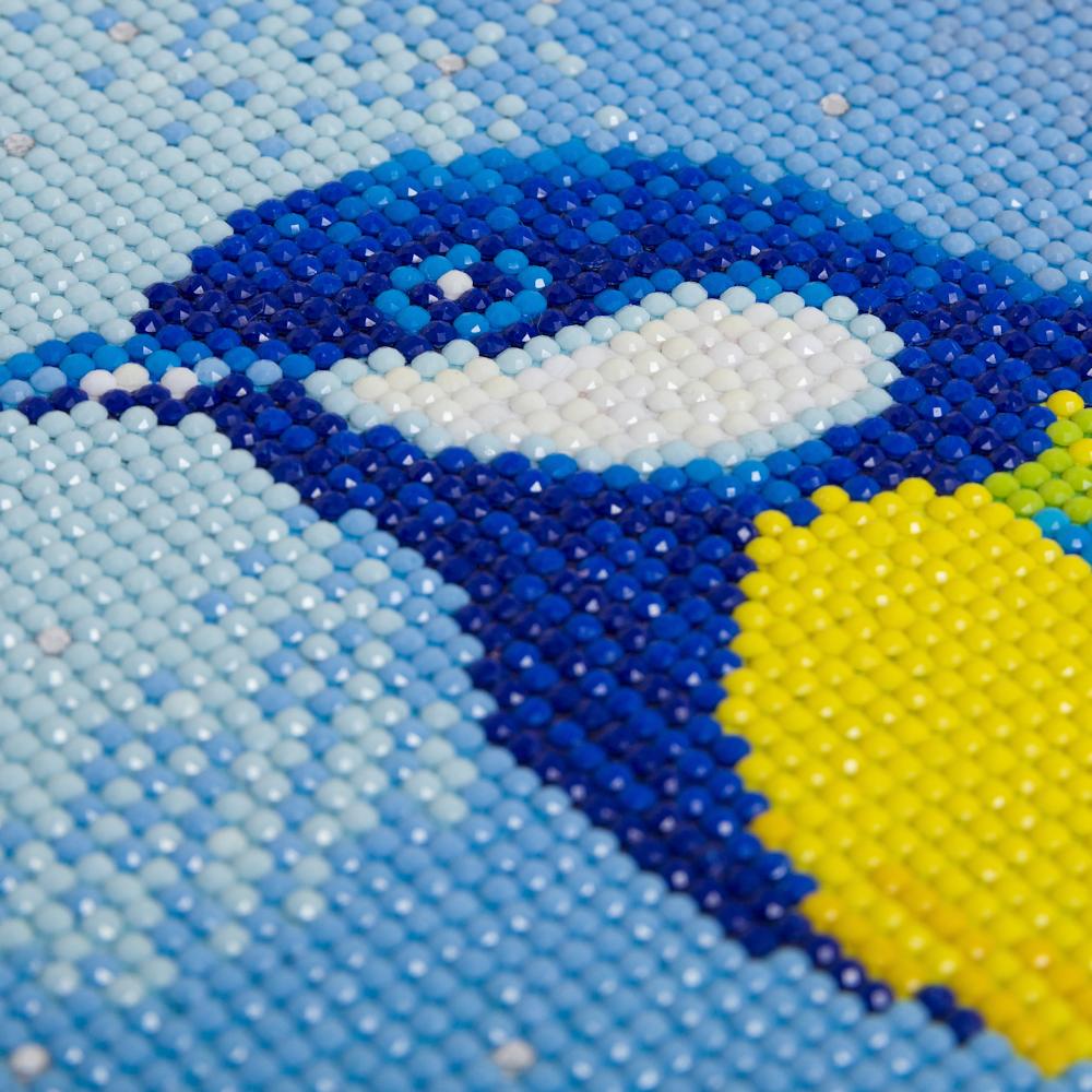 Crystal Art på ramme 30x30 cm: Fugl i blåbærbusken