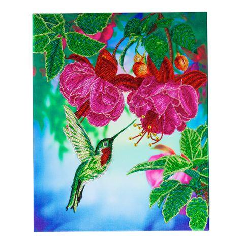 Crystal Art på ramme 40x50 cm: Kolibri