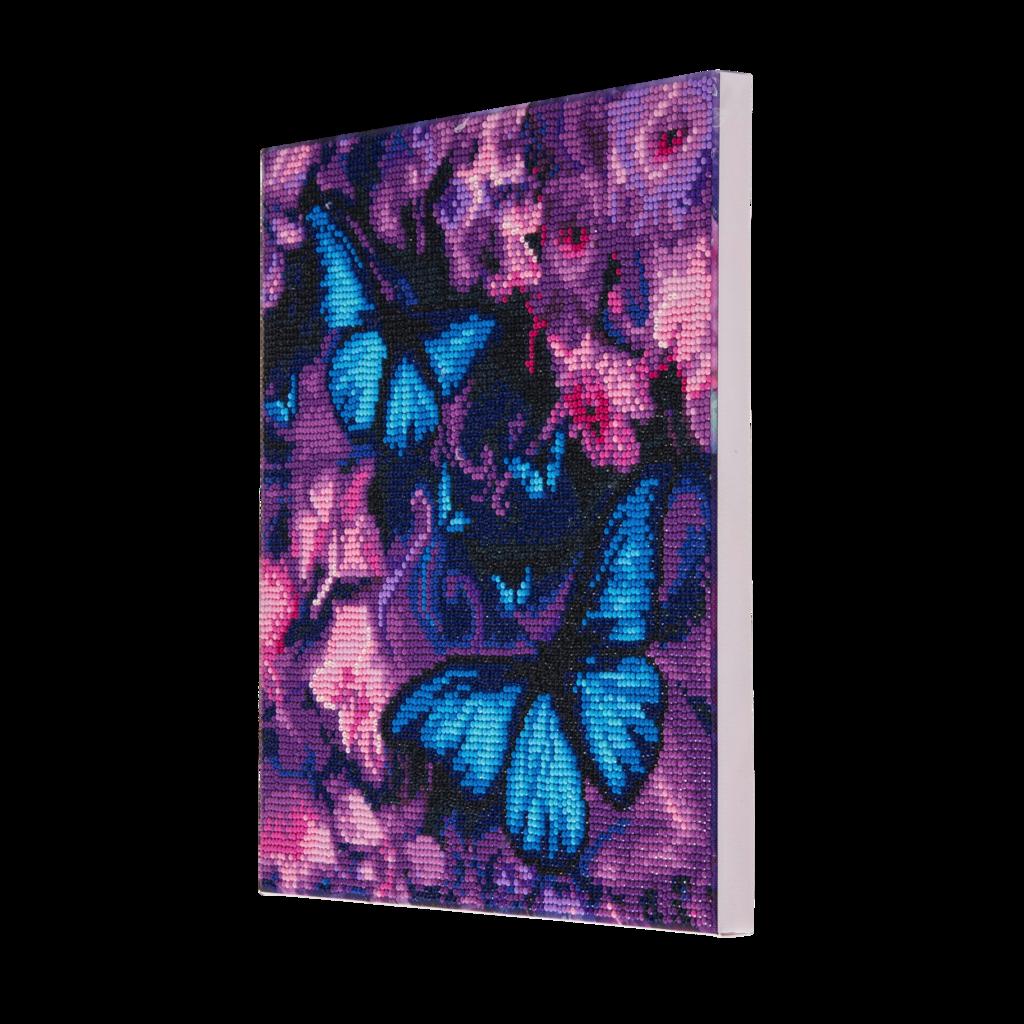 Crystal Art på ramme 30x30 cm: Blå og Lilla sommerfugle